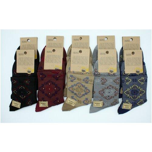 Носки женские Alina CC2081 / 10пар, серые, черные, бордовые, бежевые, размер 36-41