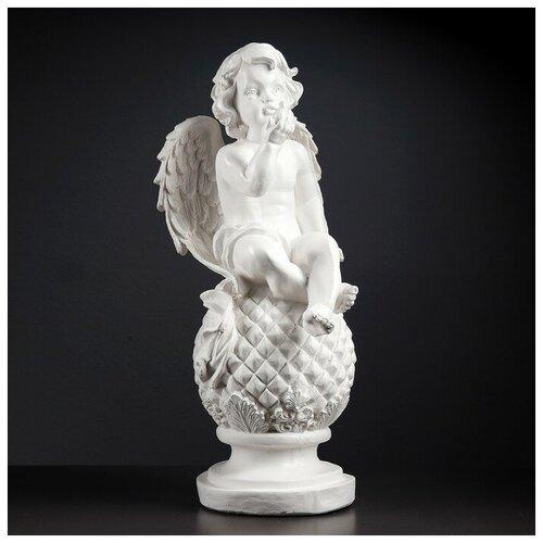 Фигура Ангел на шаре с птичкой 25х25х65см белый фигура ангел спящий на шаре белый 15х19х40см 951205