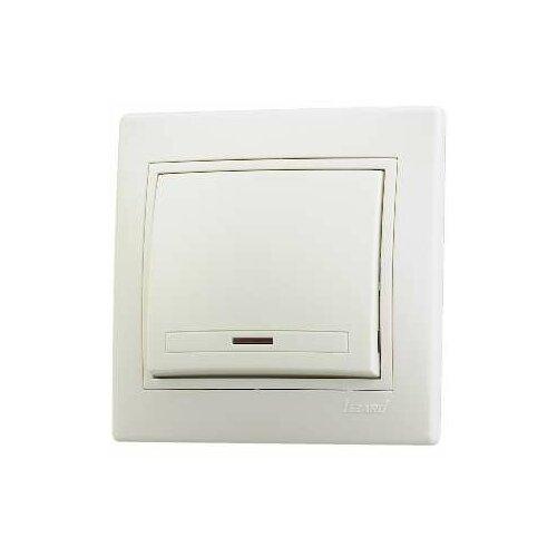 Выключатели скрытой установки LEZARD Выключатель 1-кл. СП Мира 10А IP20 с подсветкой со вставкой крем. LEZARD 701-0303-111