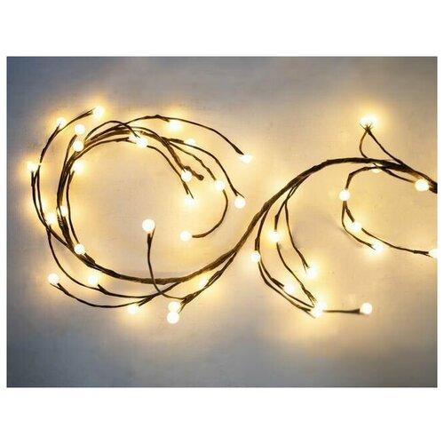 Электрогирлянда вишенки, 64 теплых белых LED-огня, 1,5+3 м, коричневый провод, 24 V, Kaemingk