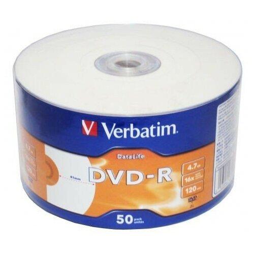 Диск DVD-R Verbatim 4.7 Gb, 16x, Shrink (50), DataLife Ink Printable (50/600)