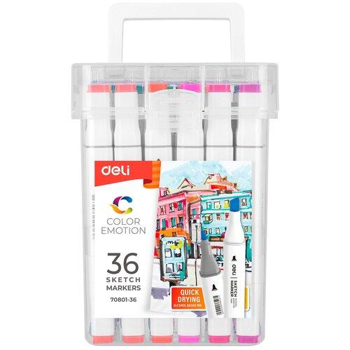 Купить Набор маркеров для скетчинга Deli E70801-36A Color Emotion двойной пиш. наконечник 1мм 36цв. 36шт., Фломастеры и маркеры