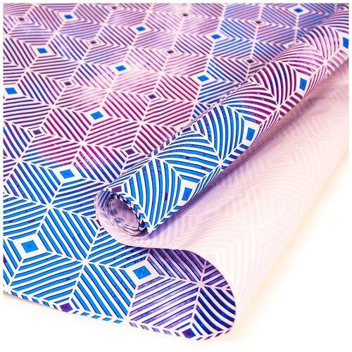 Упаковочная бумага (0,7*1 м) Гипноз, Синхронные линии, Синий, 1 шт.