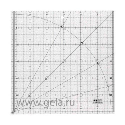 Линейка для пэчворка, градация в сантиметрах, квадрат 30 х 30 см Olfa MQR-30x30