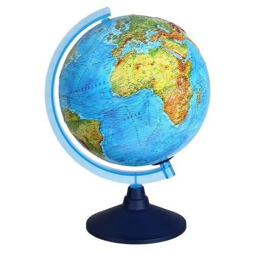 Интерактивный глобус физико-политический рельефный, диаметр 250 мм, с подсветкой от батареек