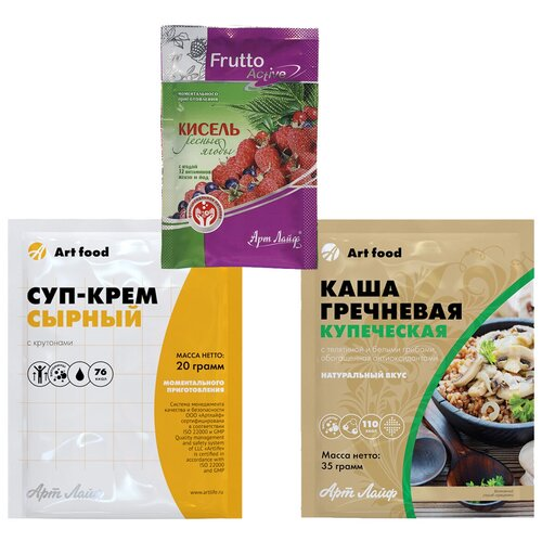 Еда быстрого приготовления. Полезные продукты, здоровое питания. Готовый обед: суп, каша, кисель Арт Лайф