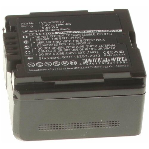 Аккумулятор iBatt iB-U1-F377 750mAh для Panasonic SDR-H40, SDR-H60, SDR-H40P, SDR-H60P, SDR-H40GK, SDR-H40PC, SDR-H60GK, SDR-H60PC, SDR-H41, SDR-H80, HDC-MDH1, HDC-HS700, SDR-H50, HDC-TM700, HDC-SD600, VDR-D50,
