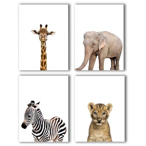 Коллекция из 4-х картин на холсте LOFTime 30х40 жираф слоненок зебра львенок К-016-3040