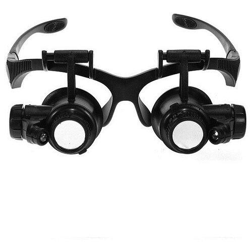 Фото - Лупа-очки Kromatech налобная 10/15/20/25x, с подсветкой (2 LED) MG9892G/GJ лупа kromatech налобная 1 2 1 8 2 5 3 5x с подсветкой 1 led mg81001 f