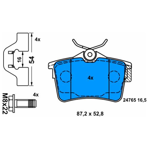 Дисковые тормозные колодки задние ATE 13.0460-2745.2 для Peugeot Partner, Peugeot 308, Citroen Berlingo (4 шт.)