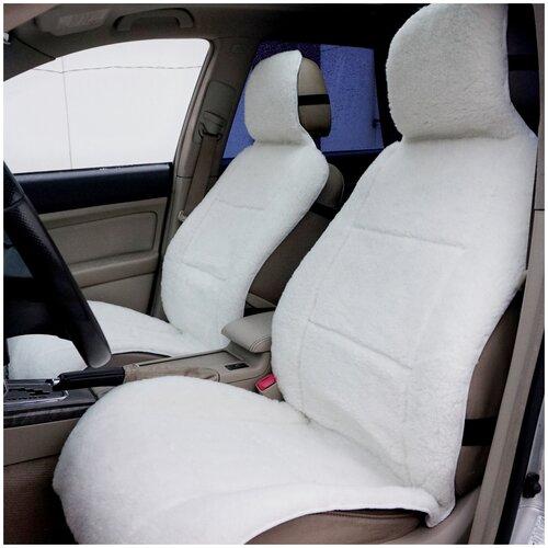 Меховые накидки на автомобильные сиденья AutoWool - 2 шт. Овечья шерсть - 70 %. Белые