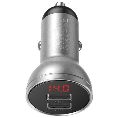 Фото - Автомобильное быстрое зарядное устройство Baseus Digital Display Dual USB 4.8A Car Charger 24W Silver (CCBX-0S)) автомобильная зарядка baseus digital display dual usb 4 8a 24w car charger vcbxa ccbx 0g ccbx 0s