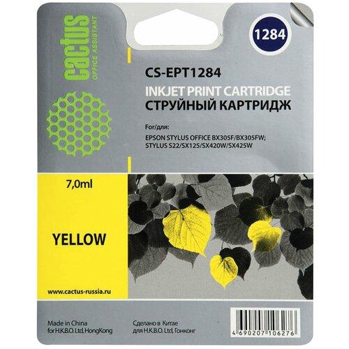 Картридж струйный CACTUS (CS-EPT1284) для EPSON Stylus S22/ SX125/ SX420W/ BX305F, желтый