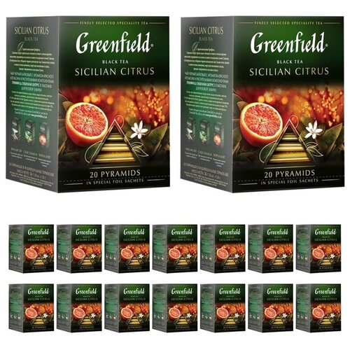 Черный чай Greenfield Sicilian Citrus, 20 пирамидок по 1,8 гр х 16 шт чай черный greenfield sicilian citrus в пирамидках 20 шт