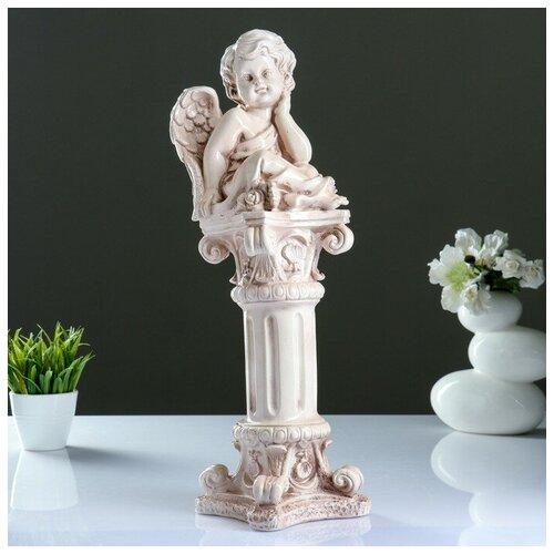 Фигура «Ангел сидя на колонне» состаренный 16х16х51см фигура ангел карапуз сидя состаренный 19х22х24см 1659374