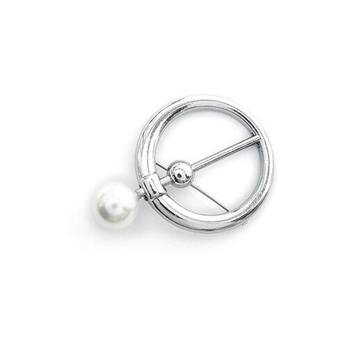 Булавка декоративная Кольцо с жемчугом UF.349 цв.серебро уп.5шт Ø35мм бусина 10мм TBY UF.349 кольцо кабельное estap k44ring01g 44x30мм уп 5шт