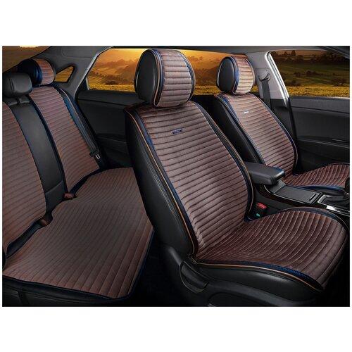 Комплект накидок на автомобильные сиденья CarFashion MONACO PLUS черный/кофе/кофе/кофе