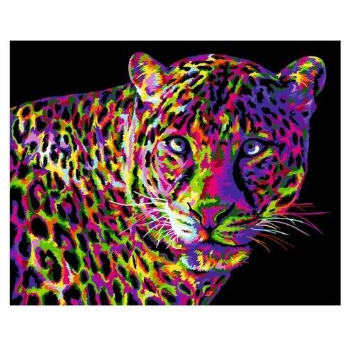 набор для рисования по номерам цветной элегантность в белом марка спейна 40 x 50 см Набор для рисования. Картина по номерам на холсте. Цветной леопард 40*50