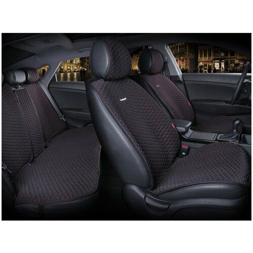 Комплект накидок на автомобильные сиденья CarFashion PALERMO PLUS черный/красный