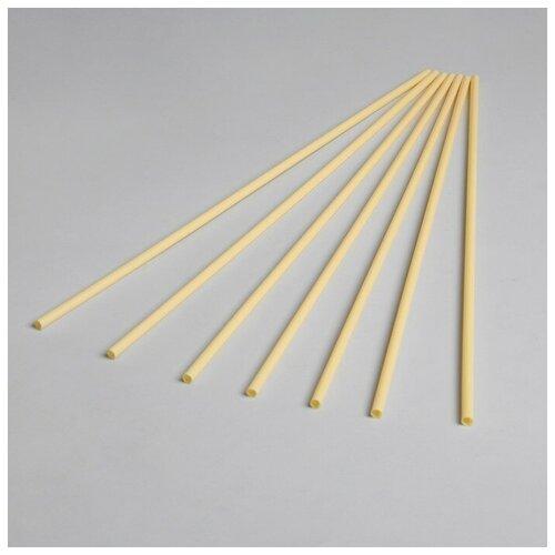 Трубочка для шаров, флагштоков и сахарной ваты, длина 41 см, d=6 мм, цвет светло-жёлтый (100 шт)