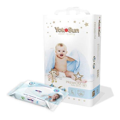 Фото - YokoSun Трусики Premium L (9-14 кг) 44 шт + салфетки 18 шт, 44 шт. подгузники yokosun l 9 13 кг 54 шт