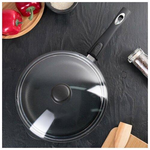Сковорода «Класск», d=26 см, h=6 см, стеклянная крышка, съёмная ручка сковорода skk сковорода d 24 h 6 5 см съем ручка о66244