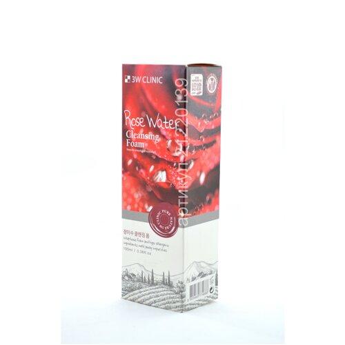Купить 3W CLINIC Rose Water Cleansing Foam Корейская увлажняющая пенка для умывания c розовой водой 100ml. Оригинал Корея