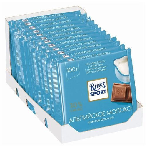 Фото - Шоколад Ritter Sport Альпийское молоко молочный, 100 г, 12 шт. шоколад ritter sport молочный карамельный мусс с миндалем 100 г