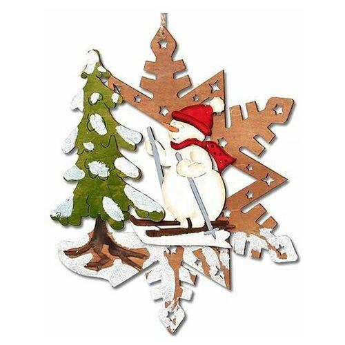 Ёлочная игрушка сказочное мгновение - снежинка со снеговичком, дерево, 24 см, Sigro