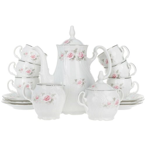 Кофейный сервиз Бледные розы (отводка платина) На 6 персон 15 предметов недорого