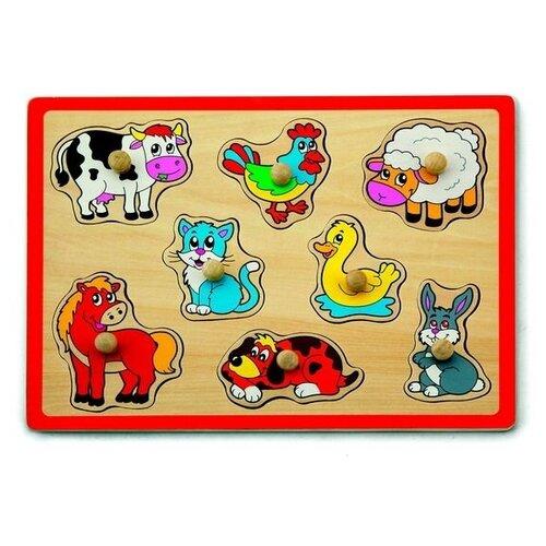 Фото - VIGA Пазл-вкладыш 'Домашние животные' (8 деталей) пазл для малышей viga транспорт 7 деталей звук