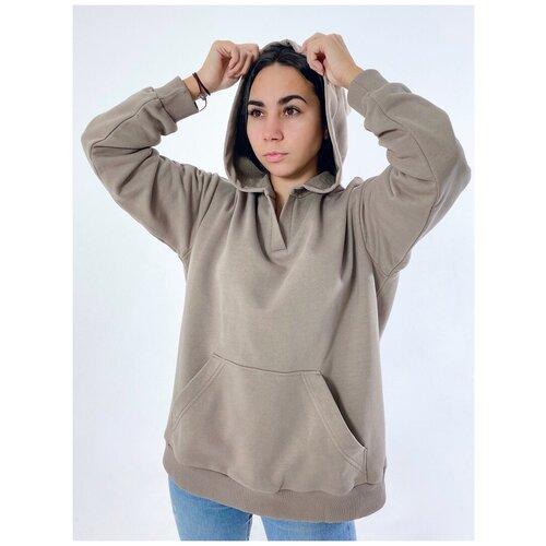 Худи женская KVATI HU184412S с вышивкой/с карманом/с вырезом/коричневый худи kvati