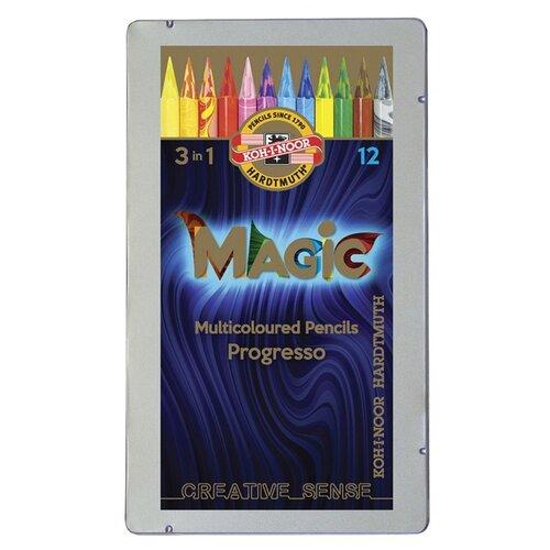 KOH-I-NOOR Карандаши с многоцветным грифелем Progresso Magic 8772, 12 шт. (8772012004PL) koh i noor карандаш с многоцветным грифелем progresso magic 30 штук 8775030001tdru