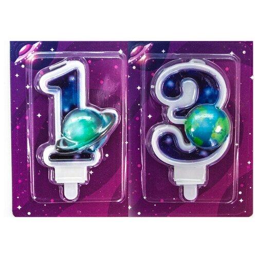 Свеча для торта космос, цифра 13, 9 см свеча космос для торта цифра 6 9 см