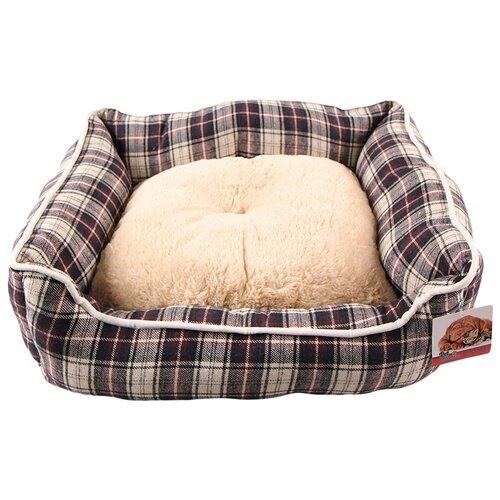 Лежак с бортом 62х50х17 см, съемная меховая подушка, крупная клетка