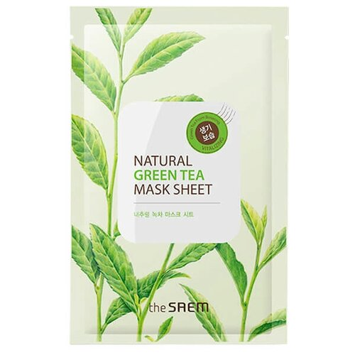 Фото - Маска тканевая с экстрактом зеленого чая The Saem Natural Green Tea Mask Sheet тканевая маска для лица с экстрактом зеленого чая airy fit sheet mask green tea 19г