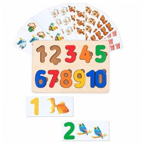 Деревянная игрушка Raduga Kids рамка-вкладыш Цифры с карточками