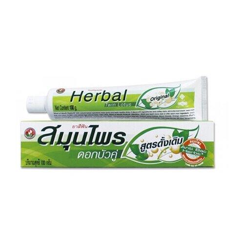 Зубная паста Twin Lotus с травами оригинальная, 30 г мыло кусковое twin lotus с травами и мангустином антибактериальное 85 г