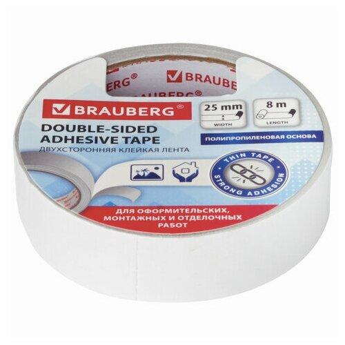 Купить Клейкая лента (скотч) двусторонняя Brauberg (25мм х 8м, тонкая основа, 90мкм) 12шт. (606425), Скотч