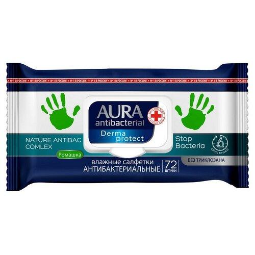 Фото - Салфетки влажные AURA антибактериальные 72шт. 2 шт. салфетки влажные aura антибактериальные 20 шт
