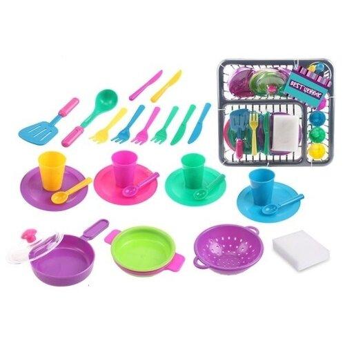 Shenzhen toys Набор посуды в сушилке (27 предметов)