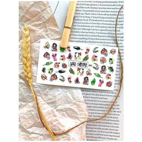 Купить Слайдер (водные наклейки) для дизайна ногтей FN205 Весна Листья Женщины, FOR NAILS