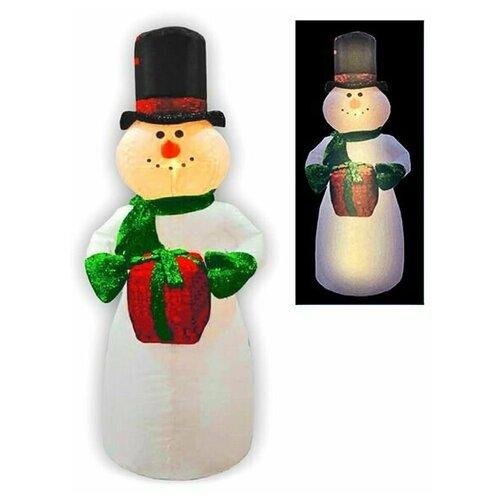 Надувная фигура снеговик В цилиндре с блестящим подарком, 2,4 м, Торг-Хаус