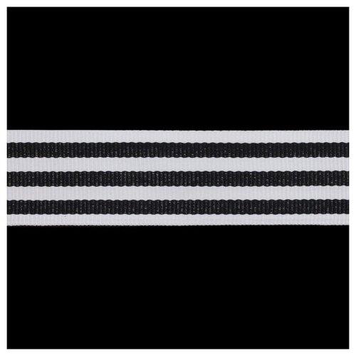 Р90133 Лента отделочная бел/черн 30мм*50м 50 м