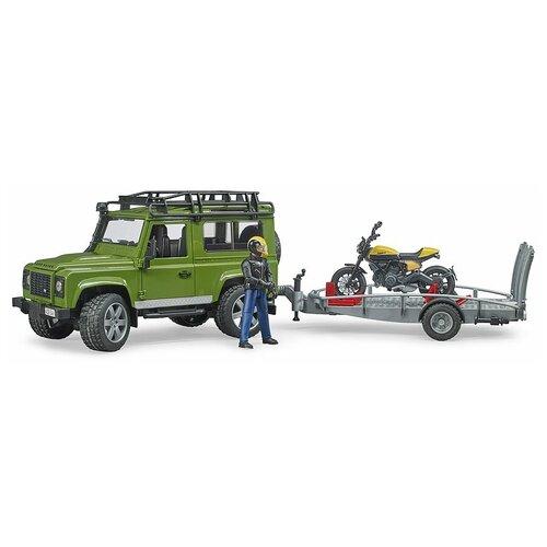 Внедорожник Bruder Land Rover Defender с прицепом и мотоциклом Scrambler Ducati Full Throttle и фигуркой 02-589 недорого