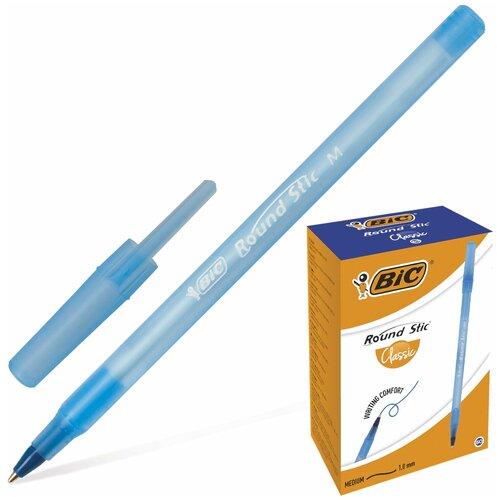 Ручка шариковая BIC Round Stic, синяя, корпус голубой, узел 1 мм, линия письма 0,32 мм, 921403