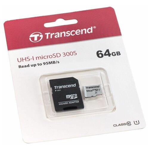 Фото - Карта памяти Transcend MicroSDXC 64GB 300S UHS-I U1 + ADP (95/25 MB/s) карта памяти sdhc 32gb transcend class10 uhs i
