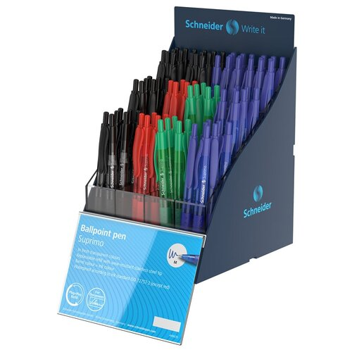 Набор автоматических шариковых ручек Schneider Suprimo (0.5мм, набор 4 цвета) дисплей, 80шт. (304282)