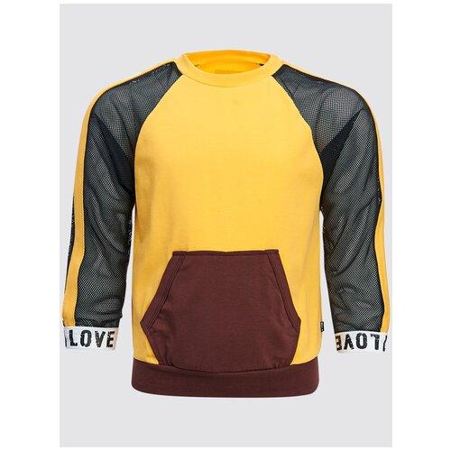 Джемпер Nota Bene, размер 146, шафран/коричневый брюки sela размер 146 коричневый