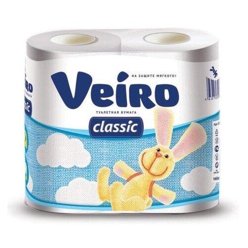 Бумага туалетная бытовая, спайка 4 шт., 2-х слойная (4х17,5 м), VEIRO Classic (Вейро), белая, 5с24 бумага туалетная бытовая спайка 4 шт 3 х слойная 4х17 5 м veiro luxoria вейро белая 5с34 3 шт
